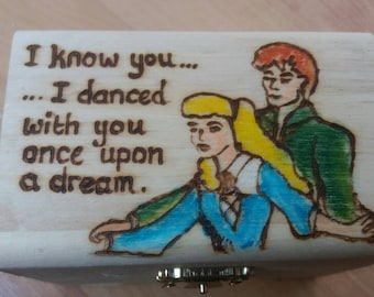 Cinderella dance wooden treasure chest gift jewellery box - can be personalised if required