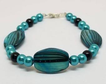 Turquoise Gemstone Bead Bracelet - Gemstone Bracelet - Turquoise Jewelry - Turquoise And Black Bracelet - Pearl Bead Bracelet