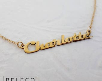 Gold Plated 18k Name Necklace, 15 Font Style To Choose, Any name, Custom Name Gifts, Perfect Halloween Gift
