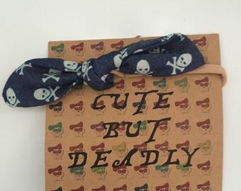 Denim baby bow headband