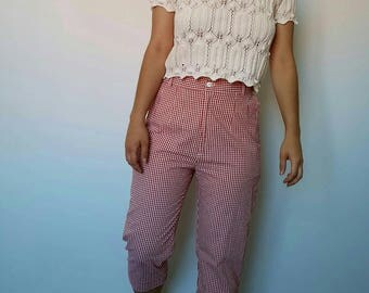 Pants / gingham / red and white / vintage / CAPTAIN pirate