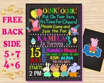 "Peppa Pig Birthday Invitation 5""x 7""or 4""x 6"", Birthday Girl. Digital File, Printable JPEG and PDF, Peppa Pig Invite, George Pig."