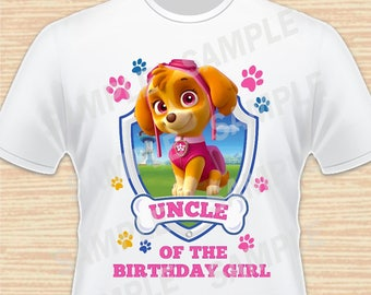 Uncle of the Birthday Girl. PAW Patrol Digital File. Personalized Family Shirts, Birthday Party. Iron on Transfer Printable Instant Download