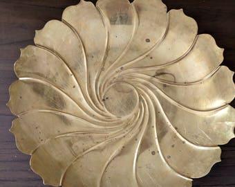 Vintage Mid Century Decorative Brass Tray | Floral Brass Dish | Large Decorative Dish | Vintage Brass | Brass Decor