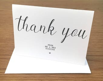 Thank You Card A7 - Personalised Wedding
