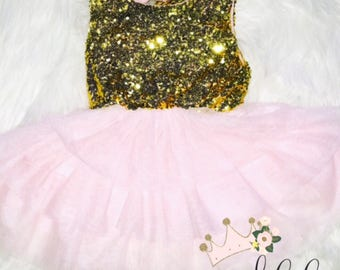 Sequin Tulle Custom Dress BIRTHDAY FIRST BIRTHDAY Photo Prop Party Dress