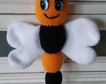 Rammelaar voor babies/crochet amigurumi baby rattle bee
