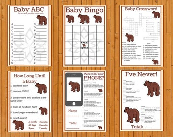 Baby Shower Games Printable Package, Brown Bear Theme Baby  Shower Games Bundle, Activities, Digital,Instant Download PDF