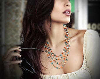 Multicolors Seashell Statement Necklace/ 4 strands/ for woman