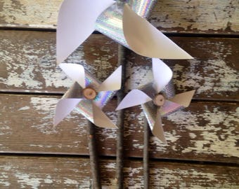 Paper pinwheel set of 3/wooden pinwheels/paper pinwheels/wedding decor/