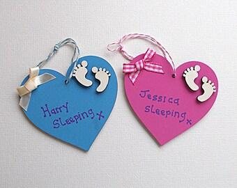 Wooden Love Heart Nursery Door Hangers Pink/Blue Nursery Decor