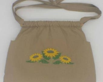 Handmade Tan Cotton Lined Purse/Shoulder Bag w/Pockets & Embroidered Sunflowers