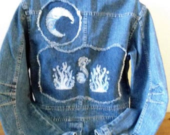 "Ladies Size M Newtime Denim Jacket ""Mermaid & Seahorse"" Machine Embroidered Reverse Applique. Free Shipping!"