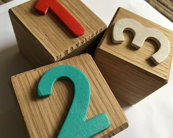 Oak number blocks // handmade //personalised // for toddlers // wooden numbers // stacking blocks // building blocks // first blocks