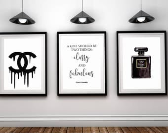 Chanel posters set,Chanel prints,Chanel wall art,Coco Chanel prints,fashion art,Chanel set of 3,Chanel poster,black white,Chanel logo art