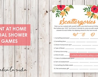 Scattergories Bridal Shower Game. Instant Download. Printable Bridal Shower Game. Yellow Flowers. Red and Orange - 02