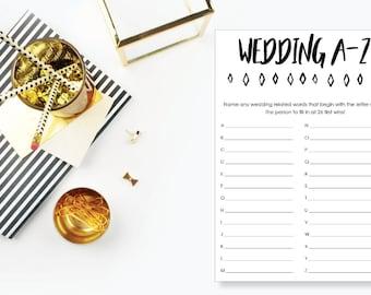 Wedding A-Z Bridal Shower Game. Instant Download. Printable Bridal Shower Game. Neutral. - 04