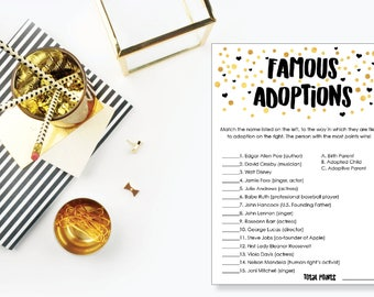 Famous Adoptions. Adoption Baby Shower Game. Instant Download. Printable Baby Shower Gender Neutral Game. Gold and Black.