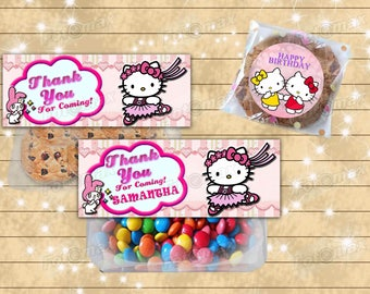 Hello Kitty candy topper- favor bag topper - free stickers sheet- digital file or printed
