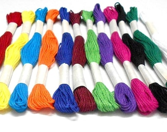 Goelx Skein Embroidery Thread Floss/ Jewelry Making Craft Thread Pack Of 25 Skeins - Multi