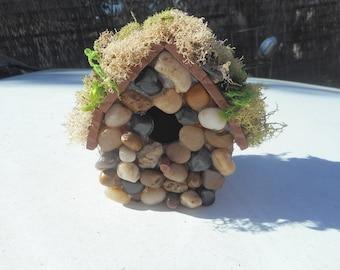 Fairy Garden, Birdhouse, OOAK, handmade, river rocks, wood, moss