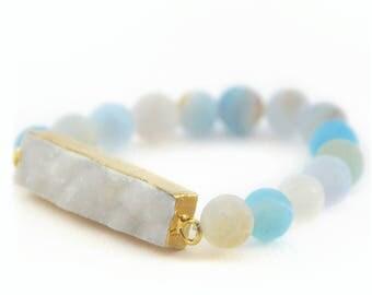Sky Blue Agate Bracelet, Frosted Beads, Matte Beads, Blue Gemstone Bracelet, Powder Blue Beads, Ocean Blue Beads, White Druzy