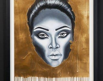 acrylic painting with bronze gold spray paintof rihanna
