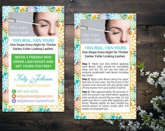 PERSONALIZED Rodan and Fields Business Cards with Lash Boost Promo,Lash Boost Card, Rodan and Fields Lash Boost Instruction RF15