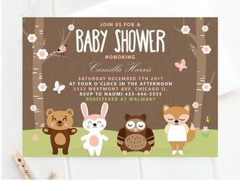 Woodland Animals Baby Shower Invitation,animal Baby Shower Invitations,  Forest Animal Baby Shower Invitation