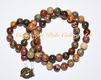 "23"" Indian Agate Necklace, 23 Inch Necklace, Indian Agate Bead Necklace, Agate Bead Necklace, Semi Precious Stone Necklace,Gemstone Necklace"