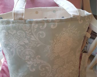 Mint Green Print Tote Bag, shopping bag, beach bag