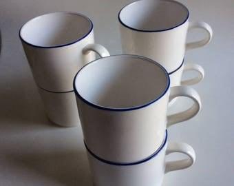 Blue Rimmed Cream Cup | Ranmaru | Japan | Vintage