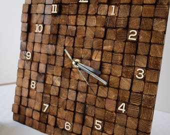 Wood clock, Burned wood, Gift parents, Natural Vintage clock, Modern clock, Gift for home, Wood cubes, Rustic design, Farmhouse wall clock.