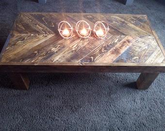 Handmade rustic herringbone coffee table made from recycled wood