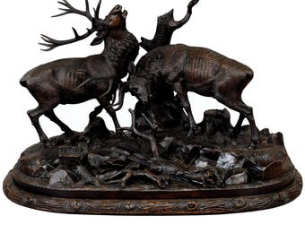 grandiose carved wood fighting stags by rudolph heissl