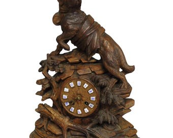antique mantel clock with charming rescue st. bernard dog sculpture