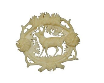 antique carved horn brooch with chamois, ca. 1900