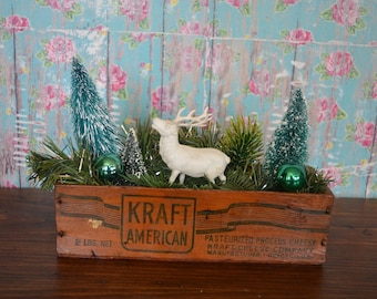 Vintage Kraft Cheese Box * decorated * greenery * Reindeer * holiday * Christmas * centerpiece *