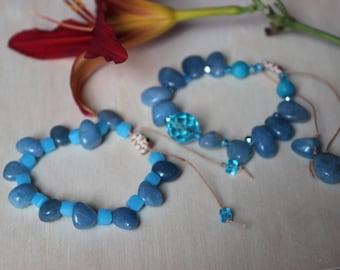 Bracelets natural stones, artificial beads assorted