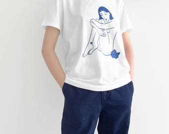 "White T Shirt Sublimation Blue printed ""Naked Lady"""