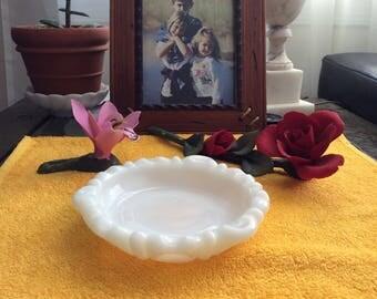 Vintage Anchor Hocking Milk Glass Ashtray/Soap Dish/Trinket Dish with Thumbprint Pattern