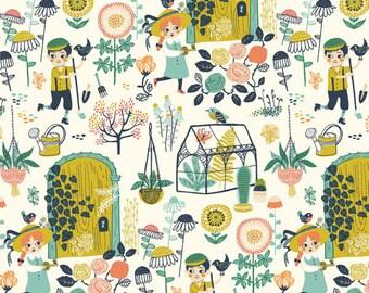 Organic cotton knit-Birch organic fabric-Hidden Garden print-Certified Organic fabric