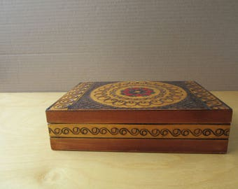 Vintage Wooden Box for Jewelry, Etc- 1970's