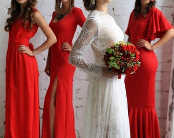 Dresses for bridesmaids, color Red. Different styles