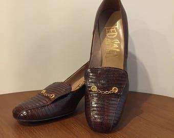 Vintage 1940's Ted Saval Genuine Alligator Lizard Shoes. Size 5.5