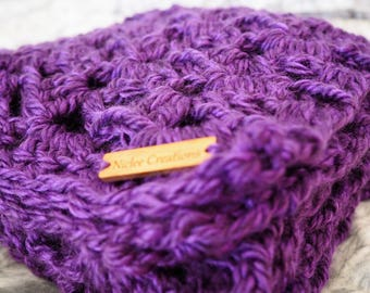 Crochet Scarf, Lacy Scarf, Scarves, Handmade, Ready to Ship, Crochet Scarves, Wearable Item, Accessories, 20cm x 200cm, Purple, Soft