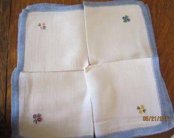 Vintage Linen Embroidered Teatime or Luncheon Napkins