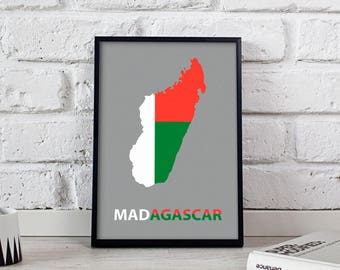Madagascar art Country Map poster wall art wall decor Gift print