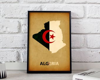 Algeria art Country Map poster Algeria poster wall art wall decor Gift print