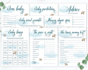 Up Up and Away Baby Shower Games, In the Clouds Baby Shower Printables, Baby Bingo Cards, Baby Price is Right Game, Instant Download PDF UA1